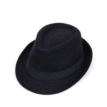 Mens Wool Fedora Wide Brim Trilby Hat