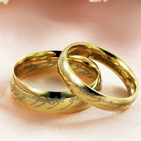 Lord of the Rings Couple Gold Ring Band (one piece price)