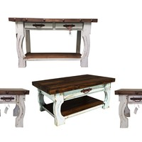 Rustic Collection: 4 Piece Coffee Table Set (Turquoise or White)
