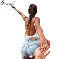 Hot sale 2017 fashion fitness bodysuit women sleeveless backless solid sexy bandage body rompers womens jumpsuit slim bodysuits