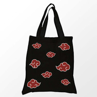 Red and White Clouds Tote Bag - Black Tote Bag - Anime Tote Bag - Shopping Tote Bag - Cute Tote Bag 15X16 Inch Book Bag