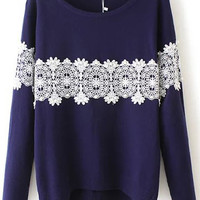 Navy Long Sleeve Lace Embellished Knitwear