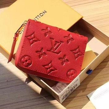 LV Louis Vuitton Popular Women Pure Color Leather Zipper Wallet Purse Red I