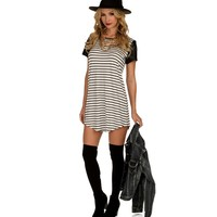 Striped Tunic with Faux Leather Sleeves