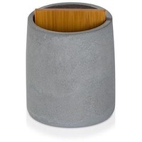 Cement With Bamboo Wood Holder Standing Toothbrush Toothpaste Tumbler