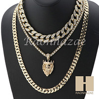 "14K GOLD PT KING LION MIAMI CUBAN 16""~30"" CHOKER TENNIS CHAIN S22"