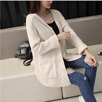 Fashion Solid Color Hooded Knit Sweater