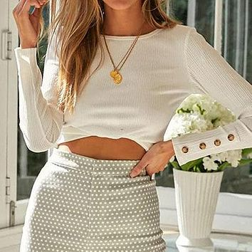 Women Knitted T-Shirt Female White Long Sleeve Crop Tops Ladies Button Short Shirt Ladies Plus Size