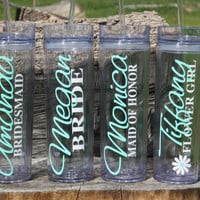7 Tall Skinny Personalized Tumblers Wedding Party Gifts, Bride, Bridesmaids, Flower Girls