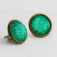 Turquoise Waters Post Earrings in Antique Bronze - Turquoise, Green & Yellow Glitter Sparkling Stud Earrings