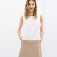 TWO-TONE DRESS WITH EMBELLISHED NECKLINE