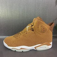 Best Deal Online Nike Air Jordan Retro 6 GOLDEN HARVEST Wheat Golden Harvest/Elemental Gold 384664-705 Men Basketball Sneaker Sport Shoes
