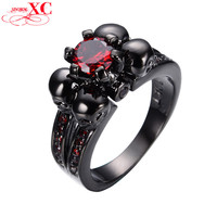Red Sapphire Zircon Vintage Black Skull Ruby Jewelry Women/Men Ring Black Gold Filled Rings
