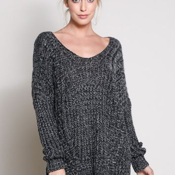 Gray Cross Back Knit Sweater