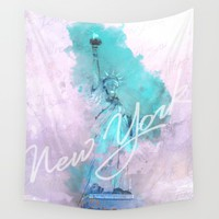 New York City - Statue of Liberty - Purple Wall Tapestry by Pentagonixmedia