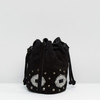 ASOS Suede Duffle Bag With Western Metal Trims