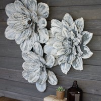 Set of 3 White-Washed Wall Flowers