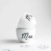 Mr and Mrs ring dish set black and white wedding ring holders for happy newlyweds