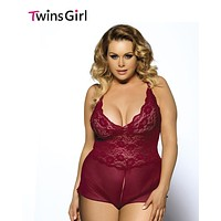 Gorgeous Ladies Sexy Plus size Lingerie 5XL Dark Wine Red Outfit