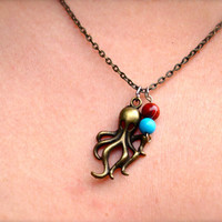 Bronze Octopus Beaded Charm Necklace for Women