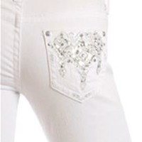 Grace in LA Jeans White Skinny with Sparkle Pocket JNW-6876-WT