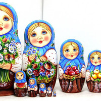 FREE SHIPPING Multicolored matryoshka nesting dolls Anastasia with a bouquet of flowers hand painted Russian wood curved Easter Christmas