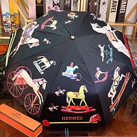 Hermes New fashion letter horse print umbrella Black