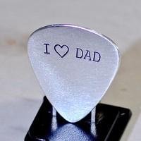 Sterling silver I love dad guitar pick for Fathers Day