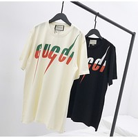 """""""Gucci"""" Unisex Personality lightning Letter Print Couple Short Sleeve Cotton T-shirt Top Tee"""