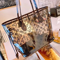 LV Louis Vuitton Women Shopping Beach Jelly Bag Shoulder Bag Transparent Handbag Tote