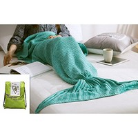 """URSKY Crochet Knitted Sofa Living Room Mermaid Tail Blanket, Cozy and Soft All Season Mermaid Tail Pattern Throw Sleeping Bag For Adult, Teens and Child, 71""""x35.5"""" Green"""