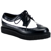 Demonia Black and White One Inch Wingtip Creepers