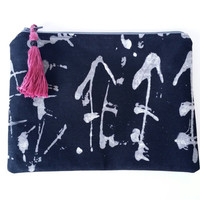 Black & Grey Asian Style Lined Zipper Pouch Handbag Clutch With Tassel 100% Cotton