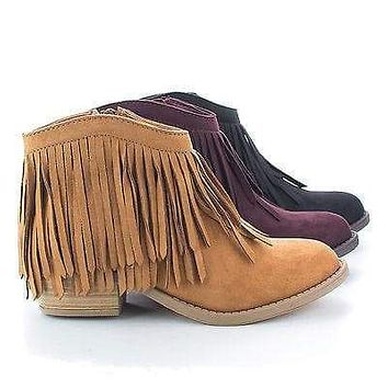 Jervis By Soda, Western Pointed Toe Ankle Fringe Stacked Heel Bootie