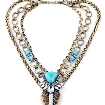 Mint Lucky Leaf Statement Necklace