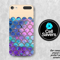Mermaid Scales Clear iPod 5 Case iPod 6 Case iPod 5th Generation iPod 6th Generation Rubber Case Gen Clear Case Purple Watercolor Cute Girly