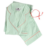 Sateen Pajama Set, Mint, Pajamas