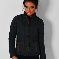 Outlaw Black & Brown Trim Quilted Jacket | Pink Boutique