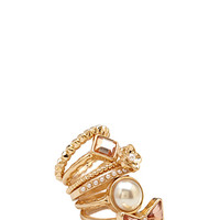 FOREVER 21 Mix & Match Ring Set Gold/Peach