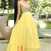 2014 New Styles Style A-Line Sweetheart Chiffon Daffodil Long Prom Dress/Evening Gowns With Beading VTC145