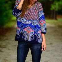 Ocean Reef Blouse, Navy