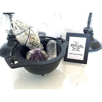 Black Cast Iron Cauldron small