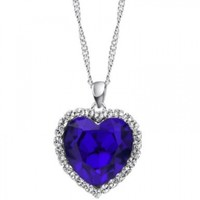 Neoglory Charm Ocean Titanic Heart Blue Pendants Necklace Clear Crystal Rhinestone Jewelry 18""