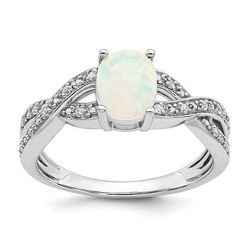 14k White Gold Created Opal and Real Diamond Ring