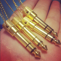 """Audio Jack Necklace - Gold Tone Real Headphone 1/4"""" Adapter Jewelry, 30"""" Long - Unisex Men's Or Women's Musician Gift"""