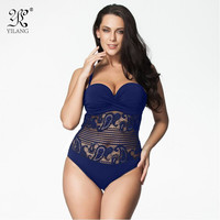 Sexy High Cut Swimsuit One Piece Swimwear Women Plus Size One Piece Black Lace Beach Bathing Suit Brazilian