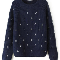 ROMWE Musical Notes Embroidered Blue Jumper