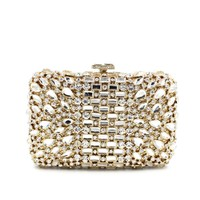 Gold Tone Luxury Rhinestone Bridal Wedding Box CLUTCH