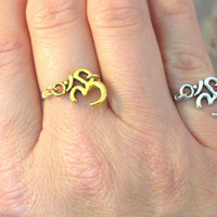 Ohm Om Ring Silver or Gold - Made in Your Size