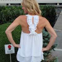 Sweet Tea Ruffle Tank White